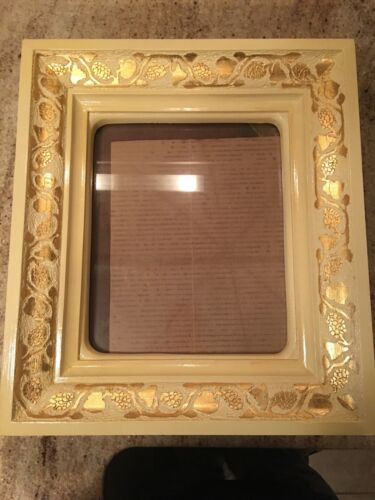 """Large Antique Ornate Wood Gesso ? Deep Picture Frame  17"""" X 15"""" 4"""" Ivory"""