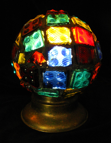 Chunk Glass Antique Mosaic Lamp Stained Glass Colored Vintage Old Colorful Light