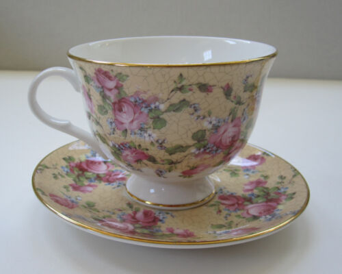Royal Grafton Cabbage Rose Pink & Gold Teacup & Saucer Crackle Chintz