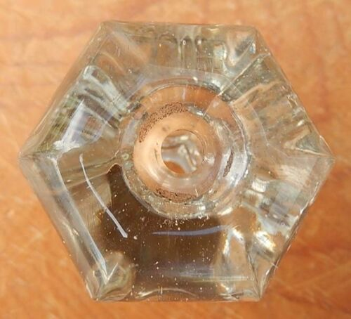 Single Vintage Hexagonal Clear Glass Cabinet Knob  Drawer or Door Pull FREE SHIP