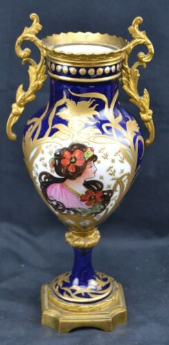 "Sevres Vase Portrait Raised Gold Paint 9"" Tall Old Repair on Bottom Ormolou"