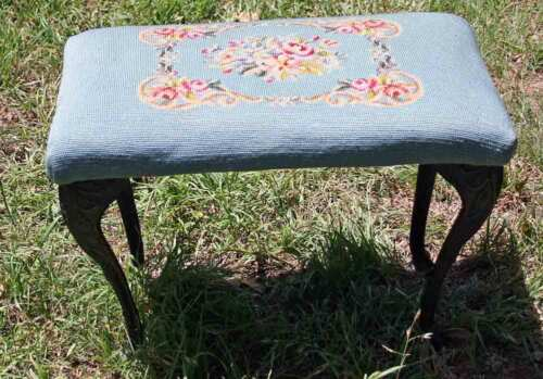 Antique Ornate Cast Iron Legs Beautifully Embroidered Dressing Vanity Stool