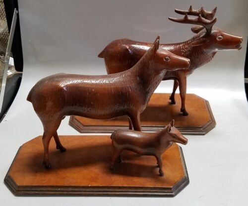 2 ANTIQUE BLACK FOREST HAND CARVED WOOD ELK STATUES - PAPA MAMA & BABY