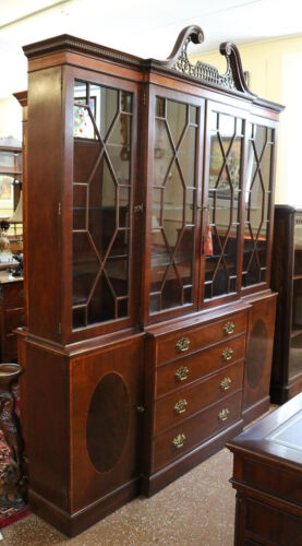 Baker Chippendale Mahogany Broken Arched Pediment Breakfront Bookcase China Cab