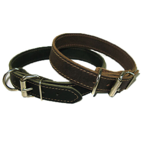"1"" Handmade Solid Buffalo Leather Dog Collar with Stitched Edges"