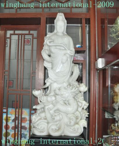 "44"" Natural white Jade Stone Carving lotus Dragon Kwan-Yin GuanYin Buddha statue"