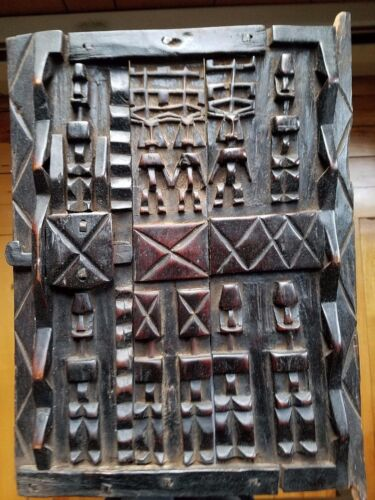 ANTIQUE AFRICAN DAN DOGON CARVED WOOD GRANARY STORAGE DOOR IVORY COAST.