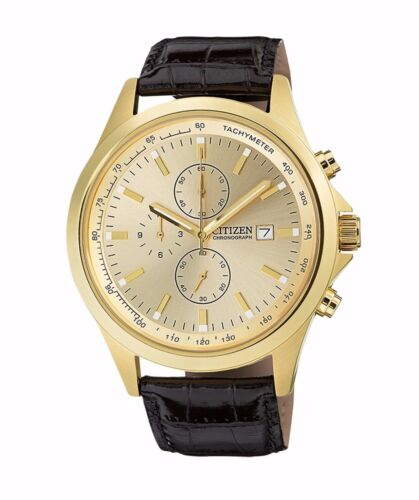 Citizen Men's AN3512-03P Quartz Gold Tone Chronograph Leather Strap 44mm Watch