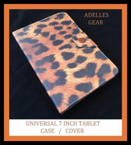 BROWN LEOPARD PRINT UNIVERSAL 7 INCH ANDROID TABLET CASE COVER BROWN LEOPARD