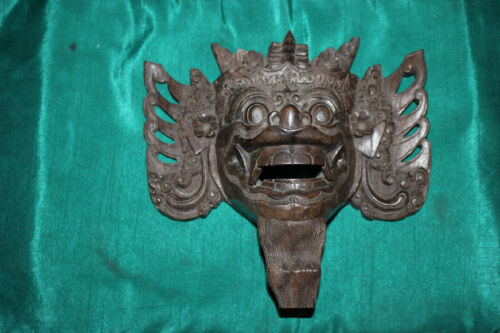 Antique Buddhism Hinduism Wood Carving Demonic Spiritual Religious Face Mask