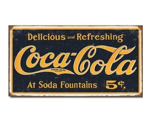 "Coca Cola Coke Logo Tin Sign Weathered Vintage Look 1910 Bar Man Cave 16"" X 9"""
