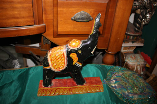 Antique India Wood Carved Hand Painted Elephant-Hinduism Religious Spirituality