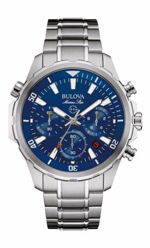 Bulova Marine Star Men's 96B256 Chronograph Quartz Blue Dial Bracelet 43mm Watch