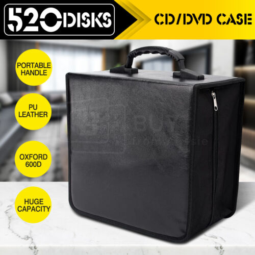 PU Leather CD DVD Storage Cases Portable Wallet Bags Holder 520 Discs Capacity