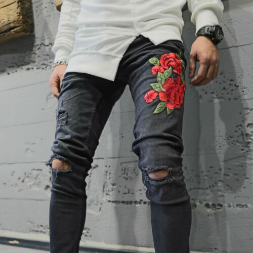 Mens Jeans Rose Print Embroidery Slim Fit Knee Ripped Denim Pants NO TAX 3601