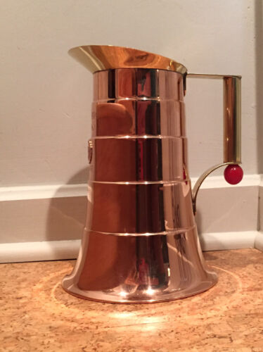 Art Deco Manning Bowman Copper Brass & Bakelite Service Pitcher Okoboji Trophy