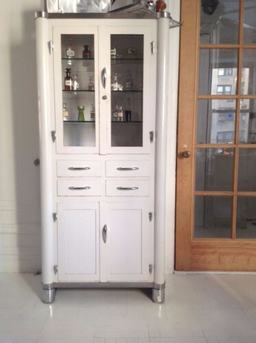 1930's Vintage White Enamel and Glass Medical Cabinet Madri Brothers Inc