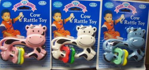 Baby King Cow Rattle, Baby Shower, Blue, Pink, or White