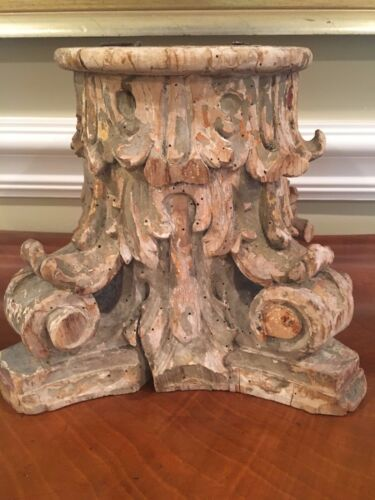 LARGE 18th Century Corinthian Capital Hand Carved Wood Baroque Polychrome