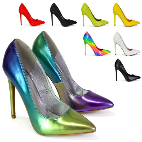 Womens High Heel Stiletto Pointed Essex Glam Ladies Party Clubbing Court Shoes