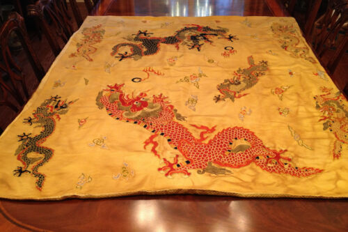 An Excellent Large Chinese Qing Dynasty Embroidered Dragon Panel.