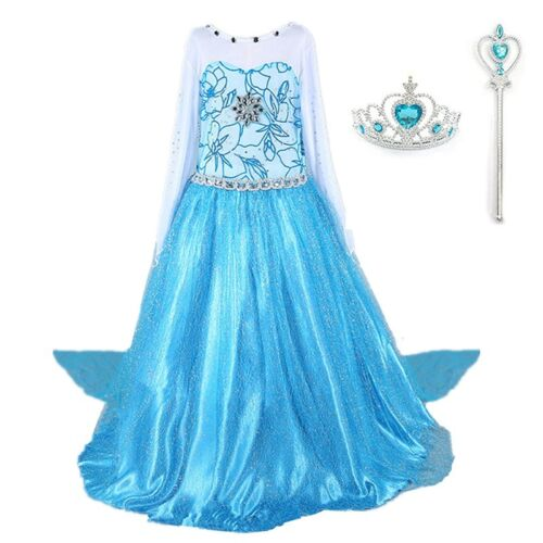 2018 Frozen Elsa Costume Princess Party Girls Dress with Crown and Wand 2-10 Y