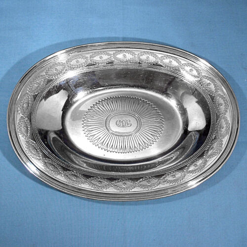 "TIFFANY & CO MAKERS STERLING 11"" OVAL BOWL ~ WINTHROP ~ MONO CDL"
