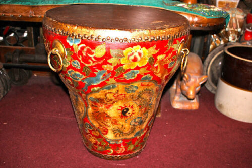HUGE Antique Chinese Korean Ceremony Buddhist Temple Drum-Painted Tigers Rabbits