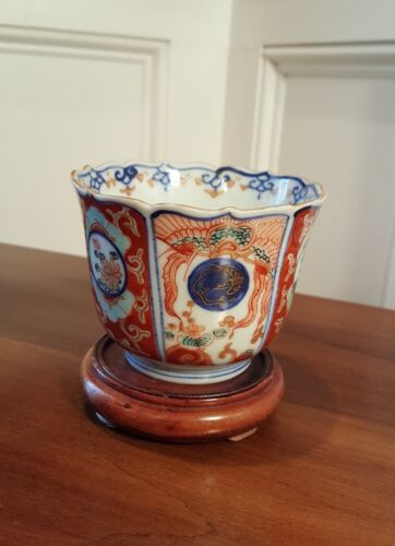 ANTIQUE JAPANESE IMARI PORCELAIN CUP / BOWL BLUE WHITE GOLD ORANGE  c.1800