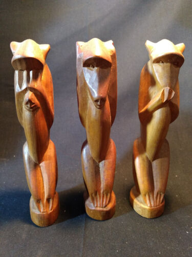 "6"" Hand Carved Wood See, Hear, Speak No Evil Monkey Statue Figures"