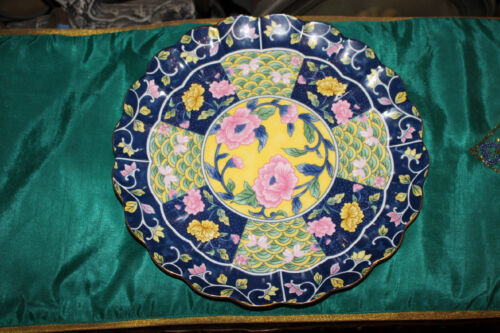 Arita Kyushu Japan Large Scalloped Cabinet Plate-Colorful Flowers-Asian Patterns