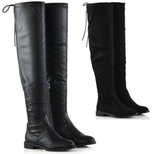 Womens Over The Knee Studded Sole Flat Ladies Stretch Calf Thigh High Boots Size
