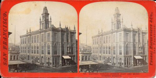 Houseworth Stereoview – Masonic Temple Post & Montgomery Sts San Francisco 1870s