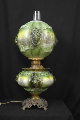 REDUCED Antique Consolidated Lamp Company GWTW Lamp with Mold Blown Lions Heads