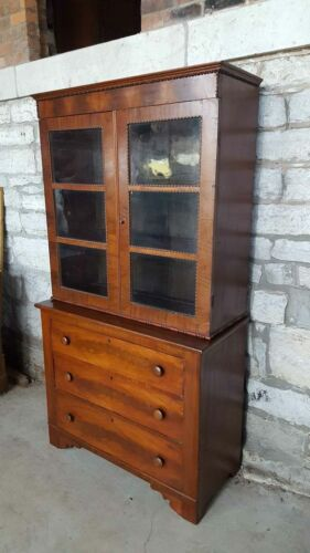Antique Empire Bookcase / Cabinet with Drawers