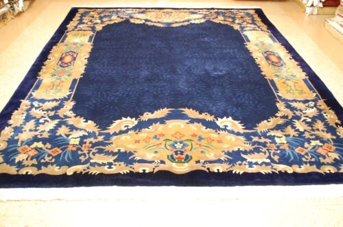 c1930s ANTIQUE MINT ART DECO WALTER NICHOLS CHINESE RUG 8.9x11.7 MUST SEE BEAUTY