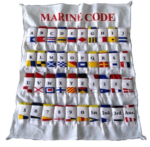 100% COTTON - MARINE NAVY Signal Code FLAG Set -Set of Total 40 flag with CASE