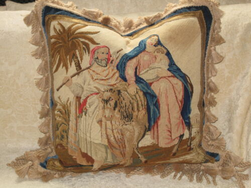 BEAUTIFUL ANTIQUE RELIGIOUS NEEDLEPOINT TAPESTRY PILLOW  SAMPLER JESUS