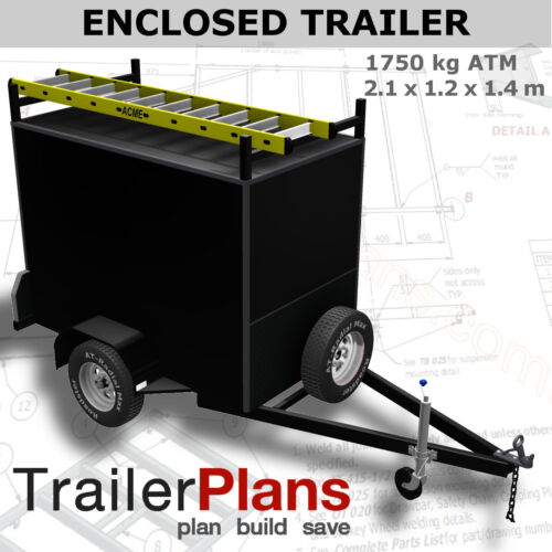 Trailer Plans - ENCLOSED BOX TRAILER PLANS - 2.1x1.2m - Plans on USB Flash Drive
