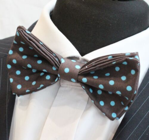 Cotton Premium Quality BV155 Pre-Tied Bow Tie.Ivory White with Brown Floral