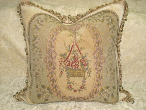 HUGE ANTIQUE FLORAL NEEDLEPOINT TAPESTRY PILLOW IN SUBTLE COLORS  24 x 24