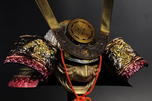 JAPANESE BEAUTIFUL SAMURAI HELMET -Yoshiie helmet- with a  mask 源義家兜