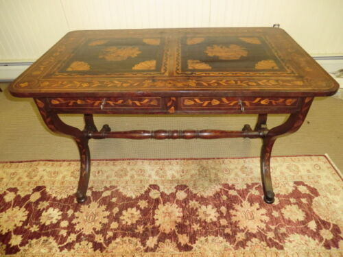 18th Century Period Antique Dutch Marquetry Hall Table