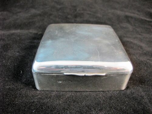 ENGLISH STERLING SILVER CIGARETTE BOX BIRMINGHAM 1903. ENGRAVED LONDON 1904.
