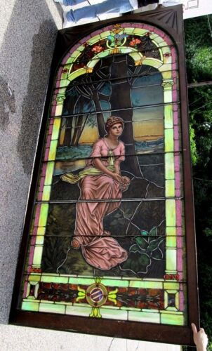 10.5' MONUMENTAL JEWELED ANTIQUE STAINED GLASS WINDOW OUR GALLERY IS CLOSING !
