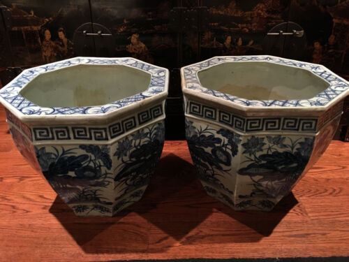 A Pair Large Chinese 19th C Blue and White Octagonal Porcelain Jardinieres.