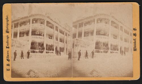 RARE Stereoview Photo Ice Covered Building & Sign Whitehall NY  1880 by Fillmore