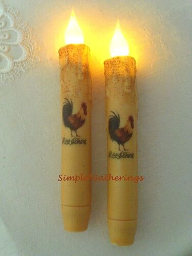 """2 Grungy Cream 6 3/4"""" Rise & Shine Rooster TIMER Taper Candles Primitive Farm"""