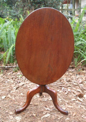 Tilt-top side table, Queen Anne, mahogany, snake foot, tip-top