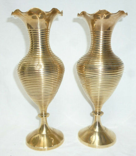 VINTAGE RETRO 2 TALL BRASS VASES with ENGRAVED PATTERN - 24cm high